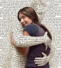 woman wrapped up in book words
