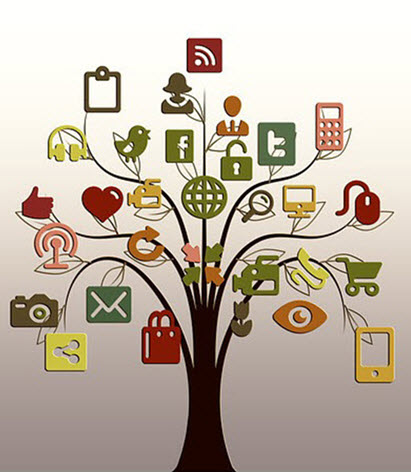 social network symbols in the tree